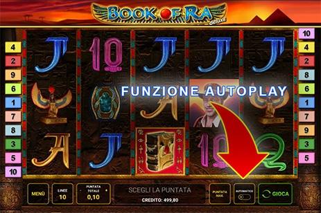 Funzione gioco automatico Book Of Ra